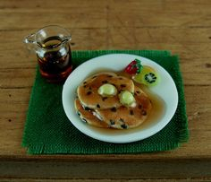 Blueberry pancakes My dad always liked to get these and an extra tiny jar of blueberry sauce when our family met at Cracker Barrel.