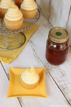 HONEY CUPCAKES WITH HONEY CREAM CHEESE FROSTING a recipe by Lauren Kapeluck {makes 1 dozen cupcakes} For the cake: 1 stick butter, room te...