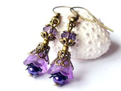 Dangle earrings, lucite flower earrings, purple lilac earrings, valentine earrings, beadwork earrings, bridesmaids gift shabby chic