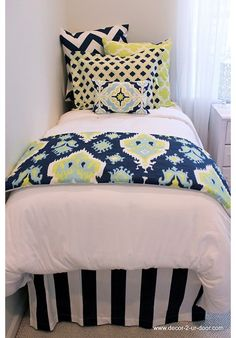 Lime & Navy Designer Teen & Dorm Bed in a Bag | Teen Girl Dorm Room Bedding HOT HOT HOT!!!