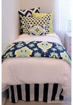 Lime & Navy Designer Teen & Dorm Bed in a Bag | Teen Girl Dorm Room Bedding HOT HOT HOT!!!