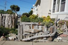 fun driftwood container of succulents..Far Out  Flora SF  great recycling of Driftwood