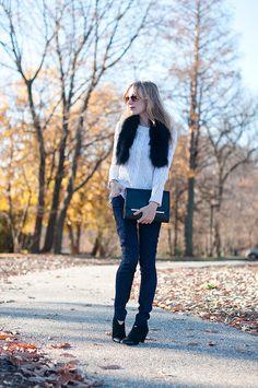 [sweater: otte / pants: 7fam / boots: loeffler randall / clutch: brahmin / stole: vintage / shades: rayban]
