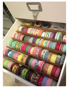 This is so simple, but seems very effective! I don't have nearly this amount of ribbon, but I could easily fill one row at the front and use the rest of the drawer space for basically anything else. Love it!