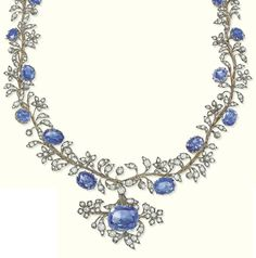 AN ANTIQUE SAPPHIRE AND DIAMOND NECKLACE, CIRCA 1850. Of foliate design, designed as an old-cut diamond articulated branch with oval-shaped sapphire intervals suspending a pendant of similar design, backchain later, 48.0 cm long. #antique #necklace