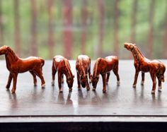 Horses Vintage Ceramic porcelain Five piece group natural poses
