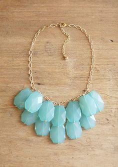 Turquoise Aqua Blue Statement Necklace  Bib by ShopNestled on Etsy
