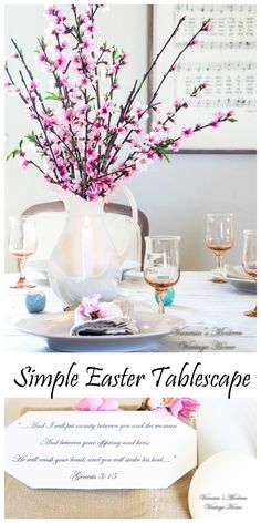 Use peach blossoms in your Easter tablescape along with items that you already have! They're beautiful!