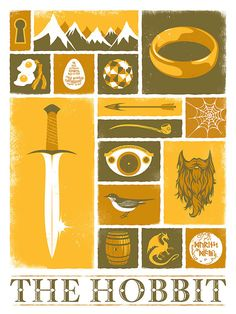 The Hobbit, Tolkien, Lord of the Rings, Fantasy, Movie, Poster, Art Print, 18x24. $25.00, via Etsy.
