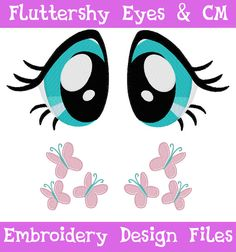 PES FILES: Fluttershy Eyes & Cutie Mark Machine Embroidery Design Pattern MLP