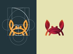 Crab logo using grid of golden ratio designed by DAINOGO. the global community for designers and creative professionals. Brand Identity Design, Branding Design, Corporate Branding, Logo Branding, Best Logo Design, Golden Ratio In Design, Logo Golden Ratio, Golden Logo, Golden Design