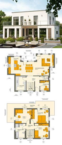 Bauhaus Stadtvilla modern Neubau mit Flachdach Architektur im Bauhausstil - Einfamilienhaus bauen Grundriss Ideen Fertighaus Sunshine 125 V7 von Living Haus - HausbauDirekt.de