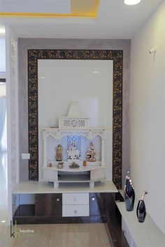 Pooja room /prayer area: eclectic by kreative house,eclectic marble Room Tiles Design, Room Wall Tiles, Pooja Room Door Design, Temple Room, Temple Design For Home, Marble Room, Mandir Design, Puja Room, Room Doors