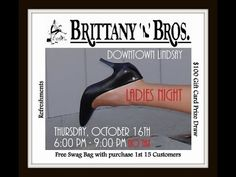 Join us at Brittany N Bros in downtown Lindsay on Thursday, October 2014 for NO TAX LADIES NIGHT from - pm! Elegant and top quality brands in. Kent St, Free Swag, Swag Bags, Ladies Night, Brittany, Ontario, Girlfriends, Thursday, October
