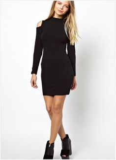 Sexy strapless long-sleeved round neck dress
