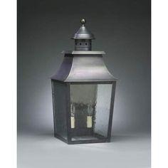 Medium Raw Brass Pagoda Outdoor Wall Lantern with Seedy Marine Glass - (In Raw Brass w/ Seedy Marine Glass)
