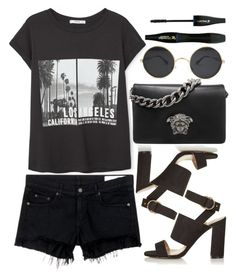 """""""blach style"""" by ecem1 ❤ liked on Polyvore featuring MANGO, rag & bone/JEAN, Topshop, Versace and Lancôme"""