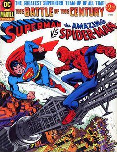 """OMAGGIO A SUPERMAN: Maurizio Rosenzweig ridisegna la copertina di """"The battle of the century: Superman vs the Amazing Spider-Man"""" (1976) - copertina originale di Ross Andru."""