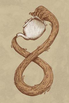 Infinite Tea Art Print by WanderingBert / David Creighton-Pester