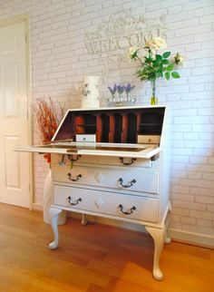 Beautiful Writing Bureau Painted in Farrow & Ball Clunch & Lightly Distressed Shabby Chic