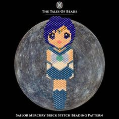 These beads will tell you the tale about Sailor Mercury. Protected by Mercury, the planet of water, Guardian of Wisdom. Stay tuned for other Sailor Soldiers! ^^ Width: 1.1 (3cm) Length: 3.4 (9cm) Colors: 9 Stitch: Brick Stitch / Peyote Beads: Miyuki Delica 11/0 Bead Count: 791