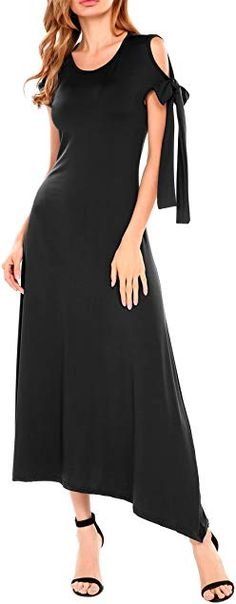 Online shopping for Long black dresses from a great selection at Clothing, Shoes & Jewelry Store. Muslim Gown, Formal Wedding Guests, Kaftan, Winter Outfits, Cold Shoulder Dress, Street Style, Gowns, Streetwear Shop, Long Black