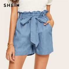 Shop & Buy Casual Blue Paperbag Waist Twin Pocket Patched Belted Denim Shorts Women Summer High Waist Wide Leg Solid Shorts Online from Aalamey Belted Shorts, High Waisted Shorts, Denim Shorts, Stripe Shorts, Pocket Shorts, Super Moda, Type Of Pants, Fashion Pants, Clothes For Women