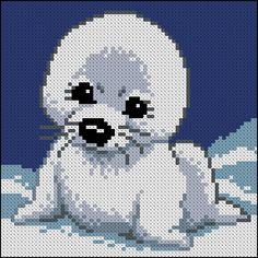 Seal pup X-stitch pattern Cross Stitch Pillow, Cute Cross Stitch, Beaded Cross Stitch, Cross Stitch Alphabet, Cross Stitch Animals, Crochet Applique Patterns Free, Perler Patterns, Loom Patterns, Cross Stitch Patterns