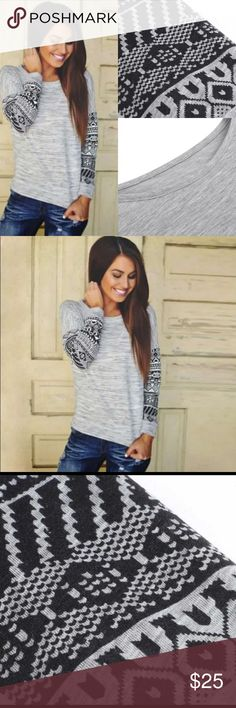 Aztec Long Sleeve Grey Top Lightweight long sleeve cotton/polyester casual shirt. This product runs small. XL would best fit sizes 8-12. Tops