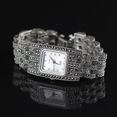 New Limited Edition Classic Elegant Silver Pure Thai Silver Bracelet Watches Thailand Square Rhinestone Bangle Dresswatch Limited Edition Watches, Silver Bangles, Watch Bands, Bracelet Watch, Jewelry Box, Quartz, Pure Products, Sterling Silver, Classic