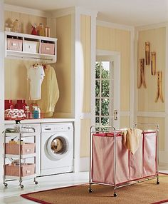 Like the shelf hung high with a rod for clothes. And the wall decor over sized antique clothes pins cute. Laundry Room Bathroom, Basement Laundry, Laundry Area, Laundry Room Design, Small Laundry Rooms, Laundry Room Organization, Laundry Baskets, Garages, Keller