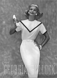 Sunny Harnett in white with navy or red Italian silk dress by Georgia Bullock, photo by Clifford Coffin, Vogue, November 15, 1959