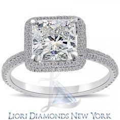 3.00 Carat E-VS1 Cushion Cut Diamond Engagement Ring 18k Pave Halo Vintage Style - Vintage Style Engagement Rings - Engagement - Lioridiamonds.com
