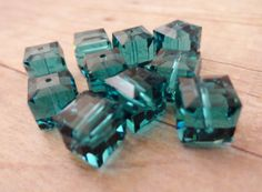 Swarovski crystal cube 8mm Indicolite ten 10 by StoneWingSupplies, $16.00  #Swarovski #crystalbead #jewelrysupplies