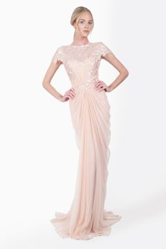 Paillette Lace and Tulle Gown in Primrose - Evening Gowns - Evening Shop   Tadashi Shoji