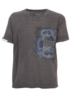 KAPITAL Denim Patch Detailed Tee STYLE NO. K1304SC533 SUMI From Kapital, a distressed patchwork crew neck tee in sumi with a blue denim appl...