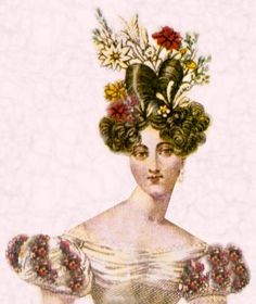 This hair style is called a la Chinoise: about 1829, its was created by pulling back and side hair into a knot at the top of the head, while hair at forehead and temples was arranged in curls.