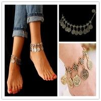 Wish | Fashion Bohemian Moon Lovers Tassel Coin Antique Gold/Silver Anklet Chain Bracelet Beach Jewelry
