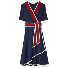 Tory Burch Peggy Wrap Dress (€335) ❤ liked on Polyvore featuring dresses, navy blue, wrap dress, long length dresses, navy wrap dress, navy blue dress and tory burch dresses