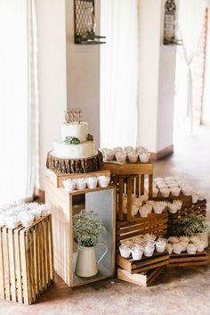 Rustic wedding cake & cupcake display / http://www.deerpearlflowers.com/rustic-wedding-cupcakes-stands/