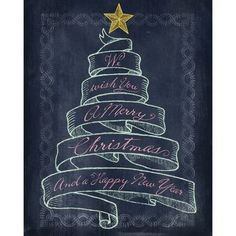 "Portfolio Canvas ""Christmas Banner Tree"" by Studio Voltaire Textual Art on Wrapped Canvas"