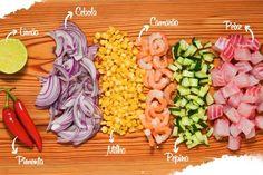Fish Recipes, Seafood Recipes, Mexican Food Recipes, Healthy Cooking, Healthy Recipes, Ceviche Recipe, Food Porn, Peruvian Recipes, Appetizer Salads
