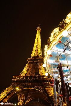 The Eifel tower at night