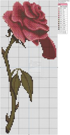 Free Cross Stitch Chart – Beauty and The Beast – Enchanted Rose by Makibird-Stitching on deviantART Free Cross Stitch Charts, Disney Cross Stitch Patterns, Cross Stitch Designs, Cross Stitching, Cross Stitch Embroidery, Embroidery Patterns, Cross Stitch Rose, Cross Stitch Flowers, Beauty And The Beast Cross Stitch