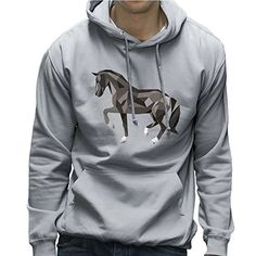 Geometric Animal Black Horse Mens Hooded Sweatshirt *** Check this awesome product by going to the link at the image.