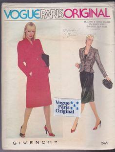 Vogue Paris Original Sewing Pattern Sz 10 Givenchy 2429 Suit Factory Fold Label #VoguePatterns #ParisOriginal