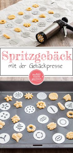 Biscuits from the pastry press- Kekse aus der Gebäckpresse Here I report on my experiences with biscuits from the biscuit press, give you tips and a simple basic recipe for biscuits from the biscuit press. Galletas Cookies, Shortbread Cookies, Cake Cookies, German Baking, Blueberry Bread, Cookie Press, Food Test, Biscuit Recipe, Galette