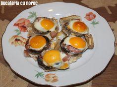 Ciuperci umplute cu oua de prepelita - Bucataria cu noroc Noroc, Eggs, Breakfast, Morning Coffee, Egg, Egg As Food