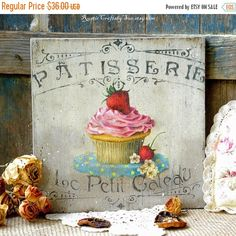 Wooden Sign-Rustic Kitchen Wall Decor-Rustic by RusticCraftsbySue Cottage Chic, Shabby Cottage, Bakery Decor, Bakery Sign, Rustic Kitchen Wall Decor, Kitchen Signs, French Country Decorating, Country French, French Farmhouse