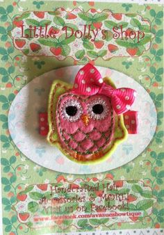 Lime Green and Pink Owl Hair Clip by LittleDollysShop on Etsy